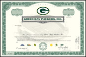 Packers Stock Certificate